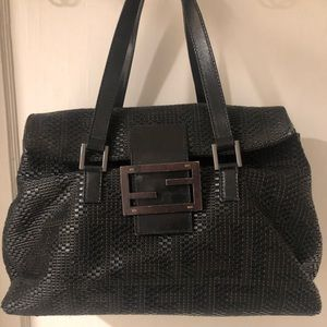 Authentic black woven leather Fendi Forever Bag